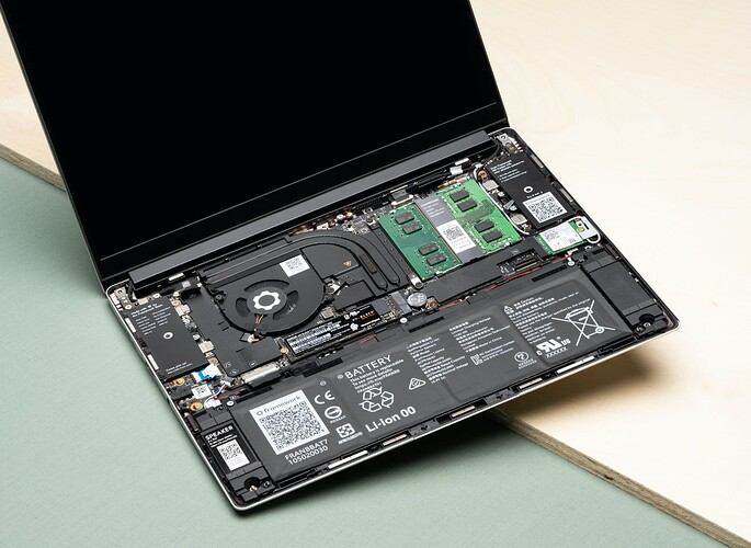 open laptop with internals showing
